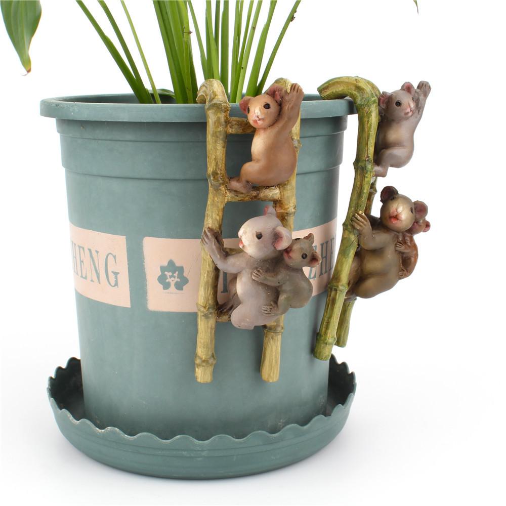 ladder climbing small koala potted decorative ornaments climbing cylinder pendant creative home gardening resin decoration